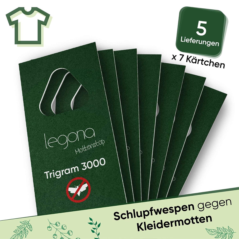 Legona/® 7X Trigram-Karte /à 5 Lieferungen//Alternative zu Mottenspray und Mottenkugeln Schlupfwespen gegen Kleidermotten//Biologische /& Nachhaltige Bek/ämpfung von Textilmotten