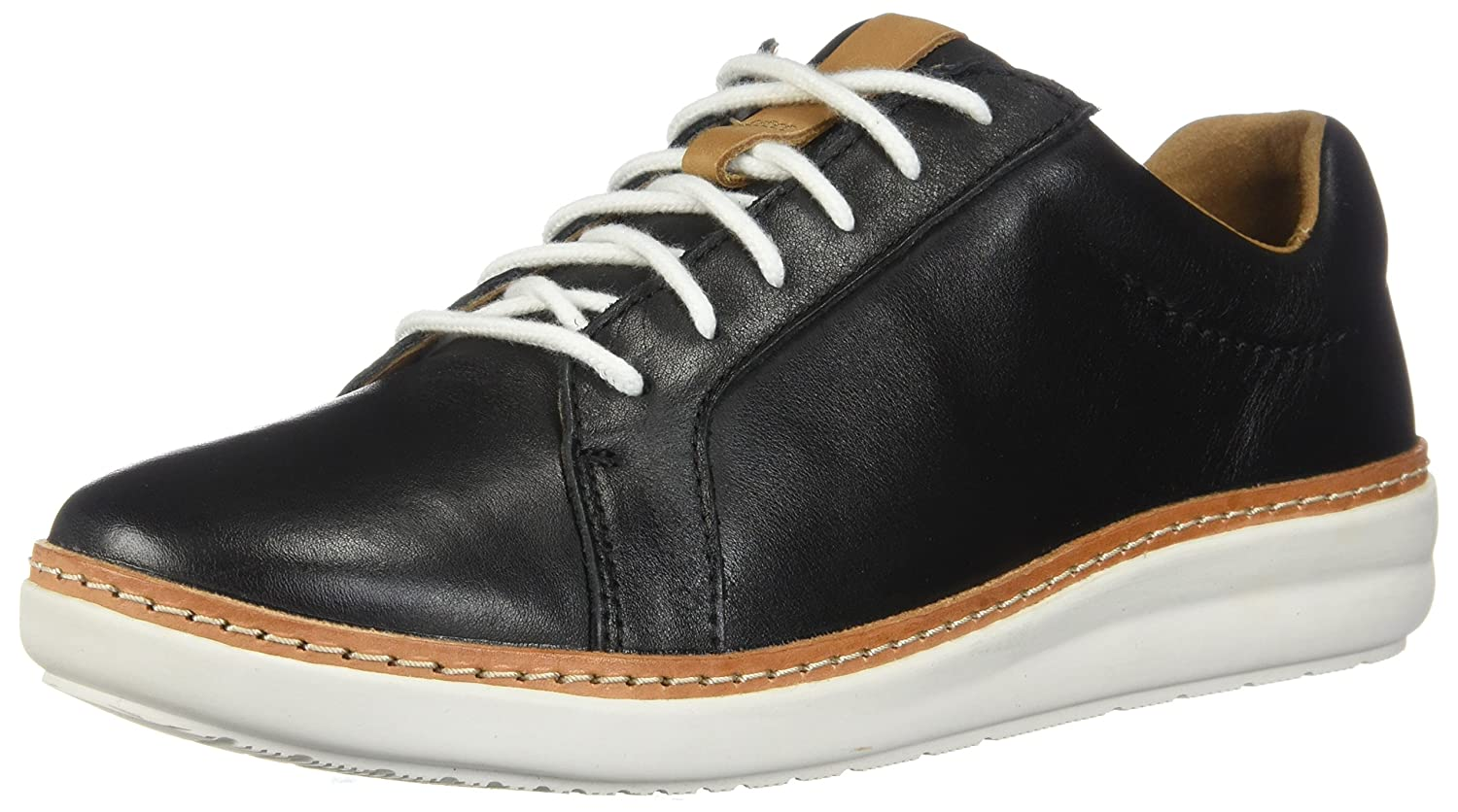 CLARKS Womens Amberlee Rosa Sneaker B0762WB48W 10 D US|Black Leather
