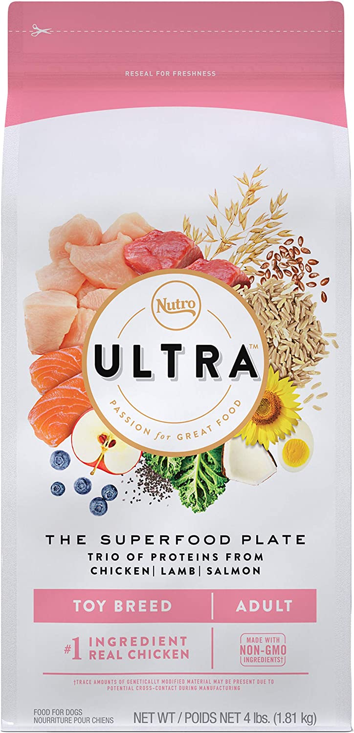 NUTRO ULTRA Adult Toy Breed High Protein Natural Dry Dog Food with a Trio of Proteins from Chicken, Lamb and Salmon, 4 lb. Bag