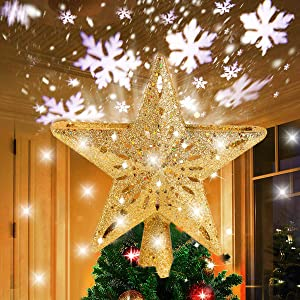 Star Christmas Tree Topper Decorations - Glittering Gold Hollow Tree Topper, Rotating 3D Projector Lamp Design Light White Snowflake for Christmas Tree Ornament Indoor Home Décor by FengRise