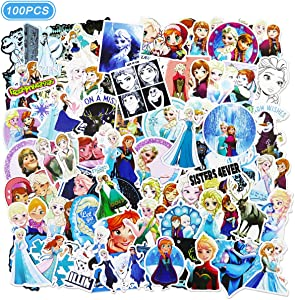 Ting Art 100 Pcs Frozen Stickers Water Bottle Luggage Bike Car Decals Anna and Elsa Stickers for Kids
