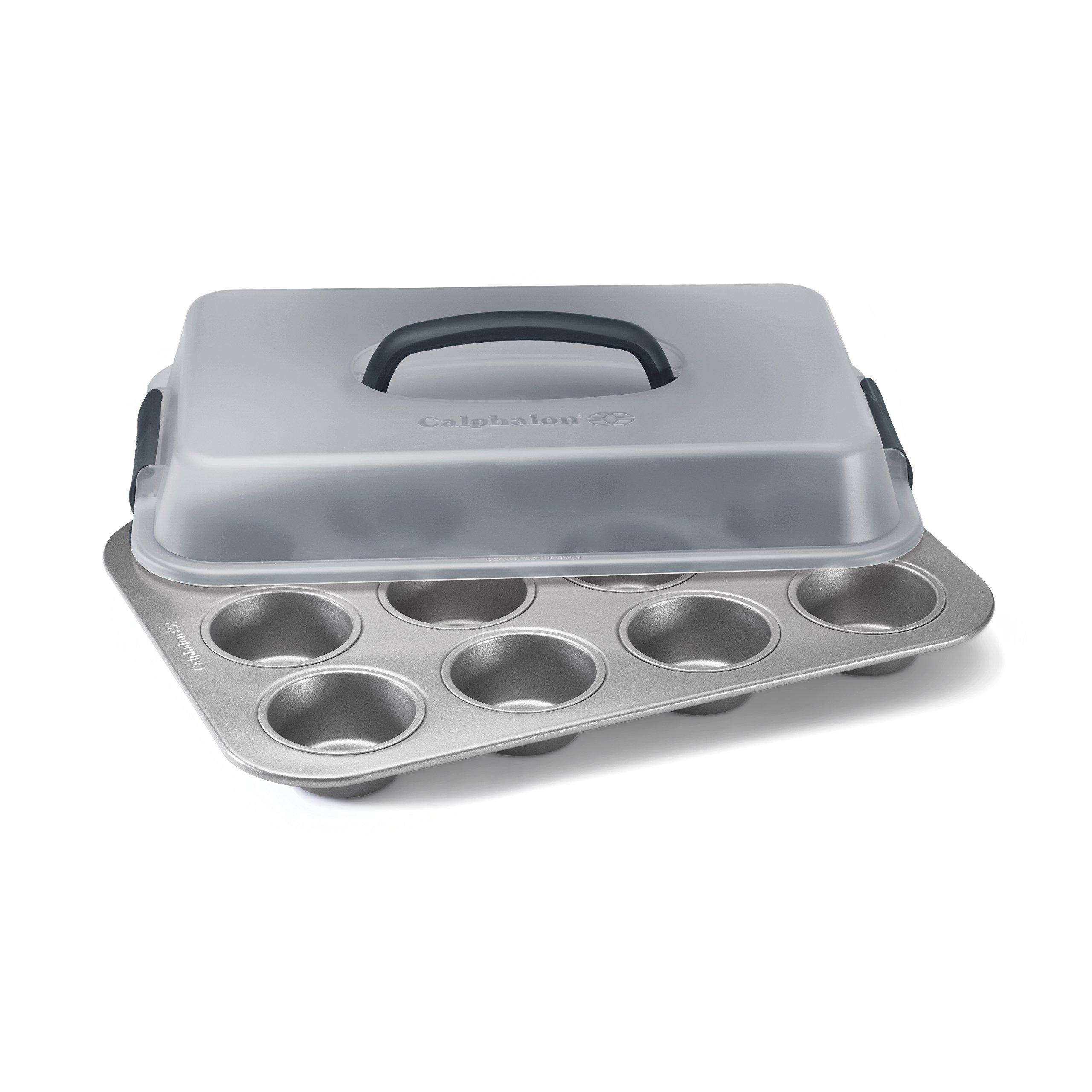Calphalon Nonstick Bakeware 12-Cup Covered Cupcake Pan, 9'' x 13''