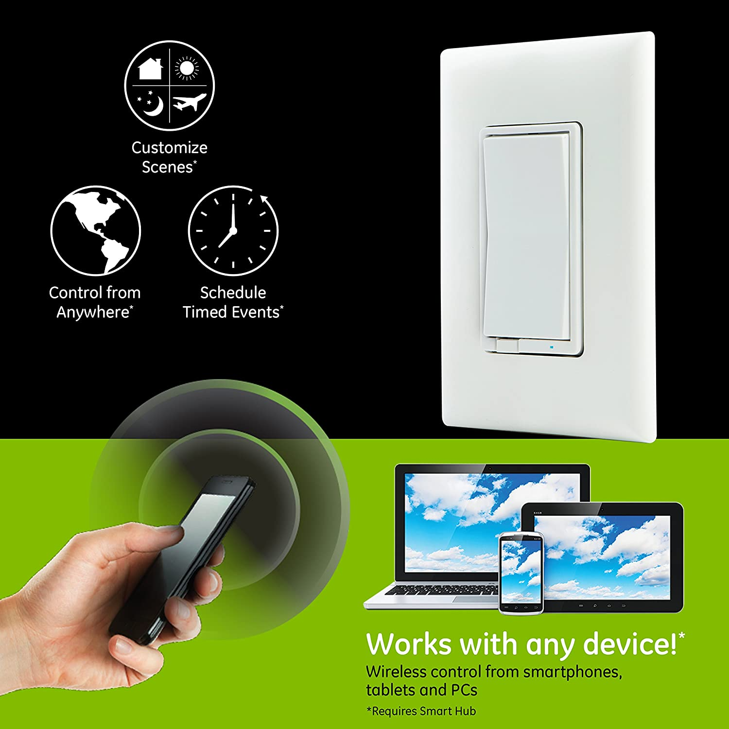Ge Z Wave Plus Smart Control Light Switch Wall Repeater Range 3 Way Backwards Extender White And Lt Almond Paddles Zwave Hub Required Works With Smartthings Wink