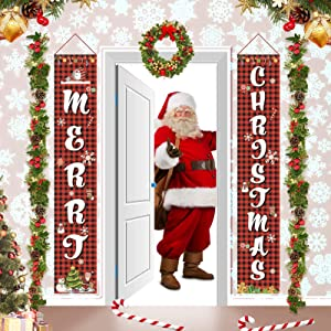 Lshylock Christmas Porch Sign, Christmas Decorations Indoor Outdoor, Merry Christmas Porch Signs for Front Door Yard Home Decor, Hanging Banners Flag F