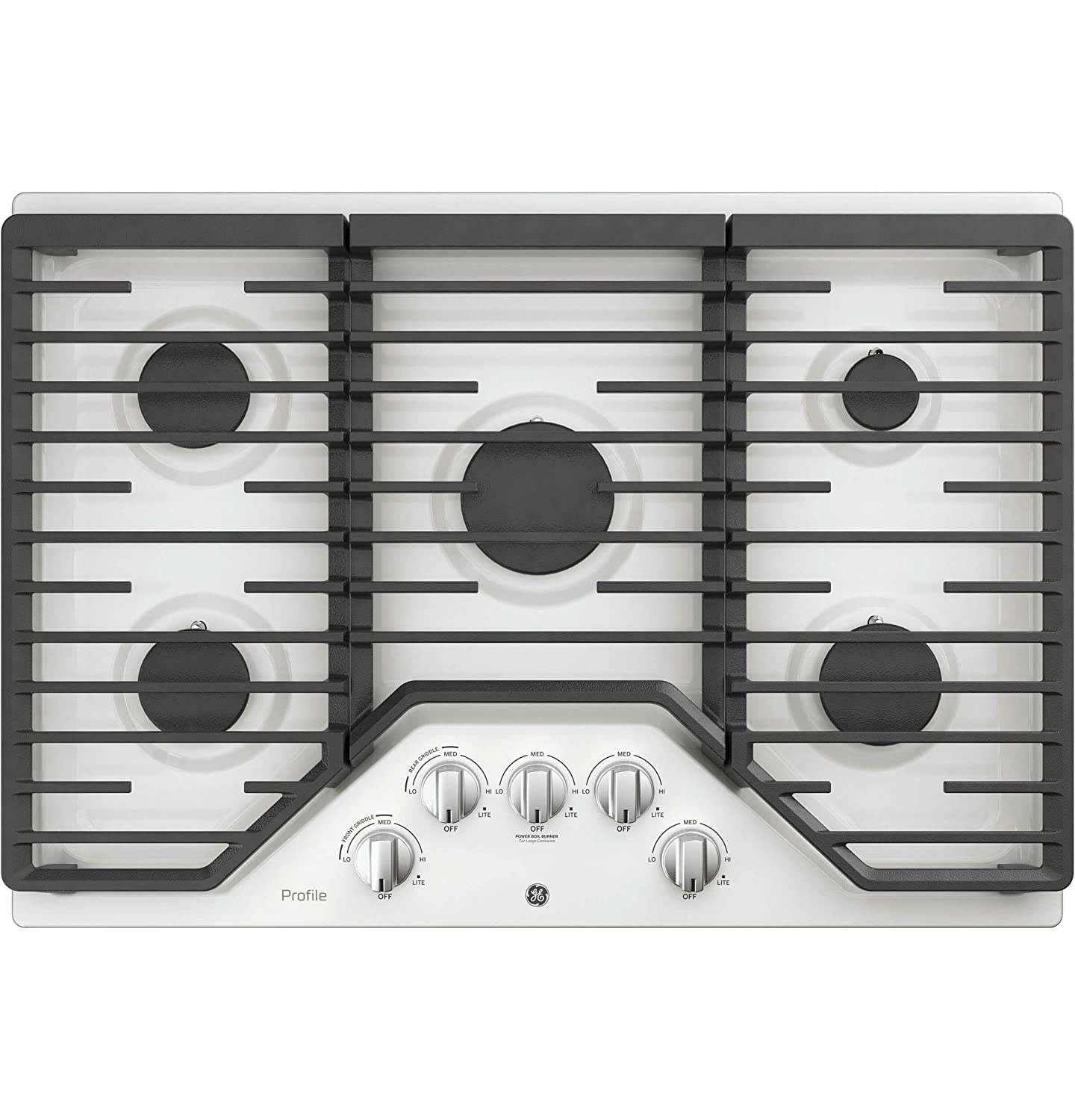 GE Profile PGP7030DLWW 30' Inch Natural Gas Sealed Burner Style Cooktop with 5 Burners, Electronic Ignition in White G.E. Profile