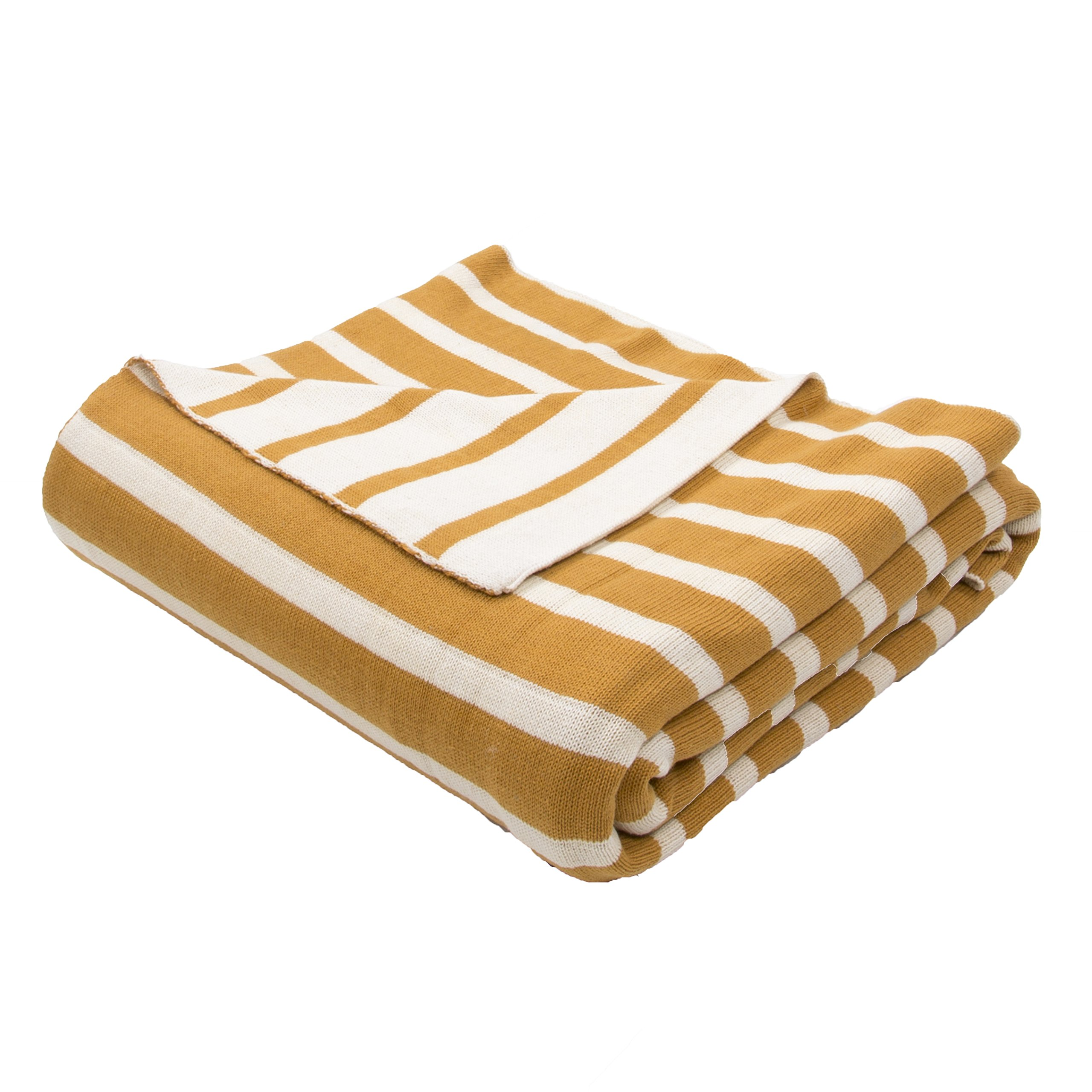 Jaipur Soft Hand Stripe Pattern Yellow/Gold Cotton Throw, 50-Inch x 60-Inch, Narcissus Tri-2