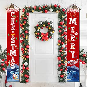 Christmas Porch Decorations for Home Merry Christmas Banner,Christmas Door Decorations Porch Welcome Sign for Front Door Christmas Decoration Outdoor Flags Red Christmas Signs Hanging Decorations