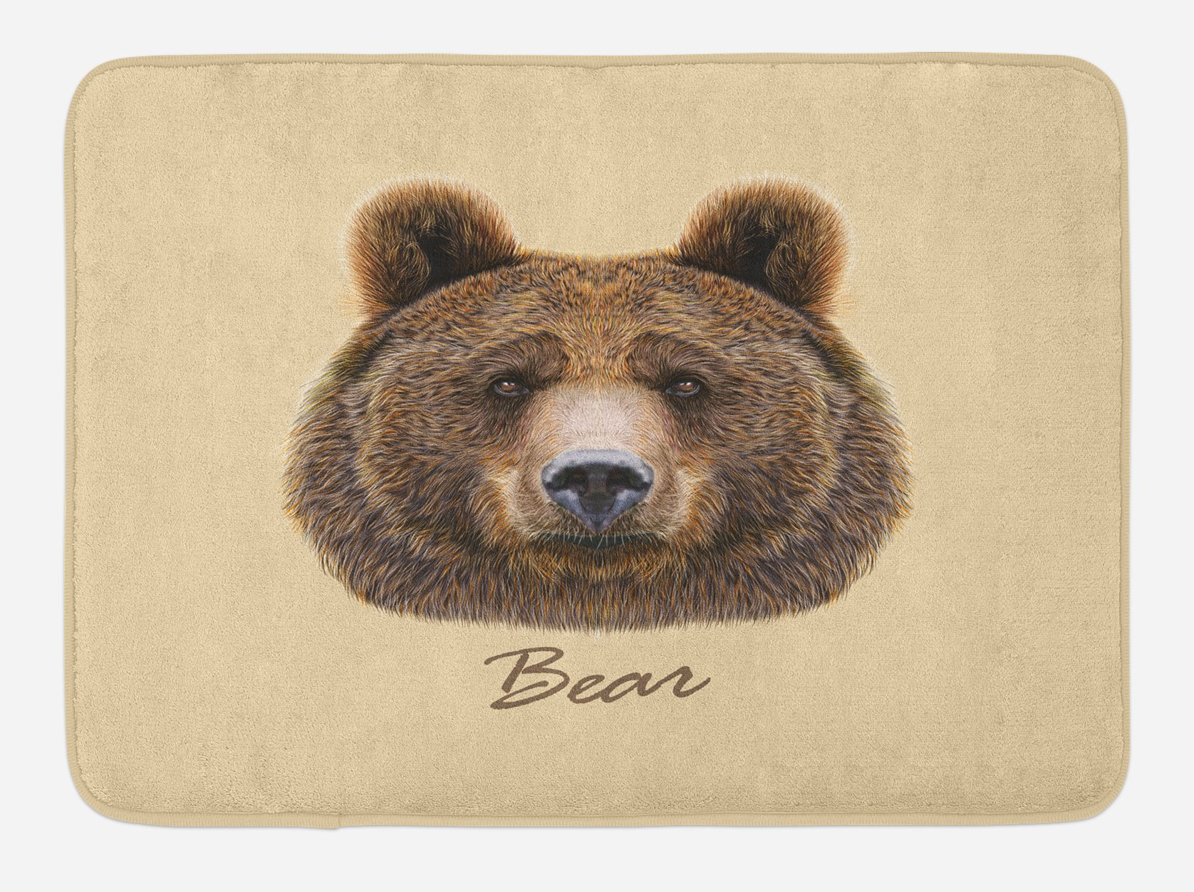 Ambesonne Bear Bath Mat, Big Bear of North America and Eurasia Realistic Strong Wildlife Beast Zoo Animal, Plush Bathroom Decor Mat with Non Slip Backing, 29.5 W X 17.5 W Inches, Brown Sand Brown
