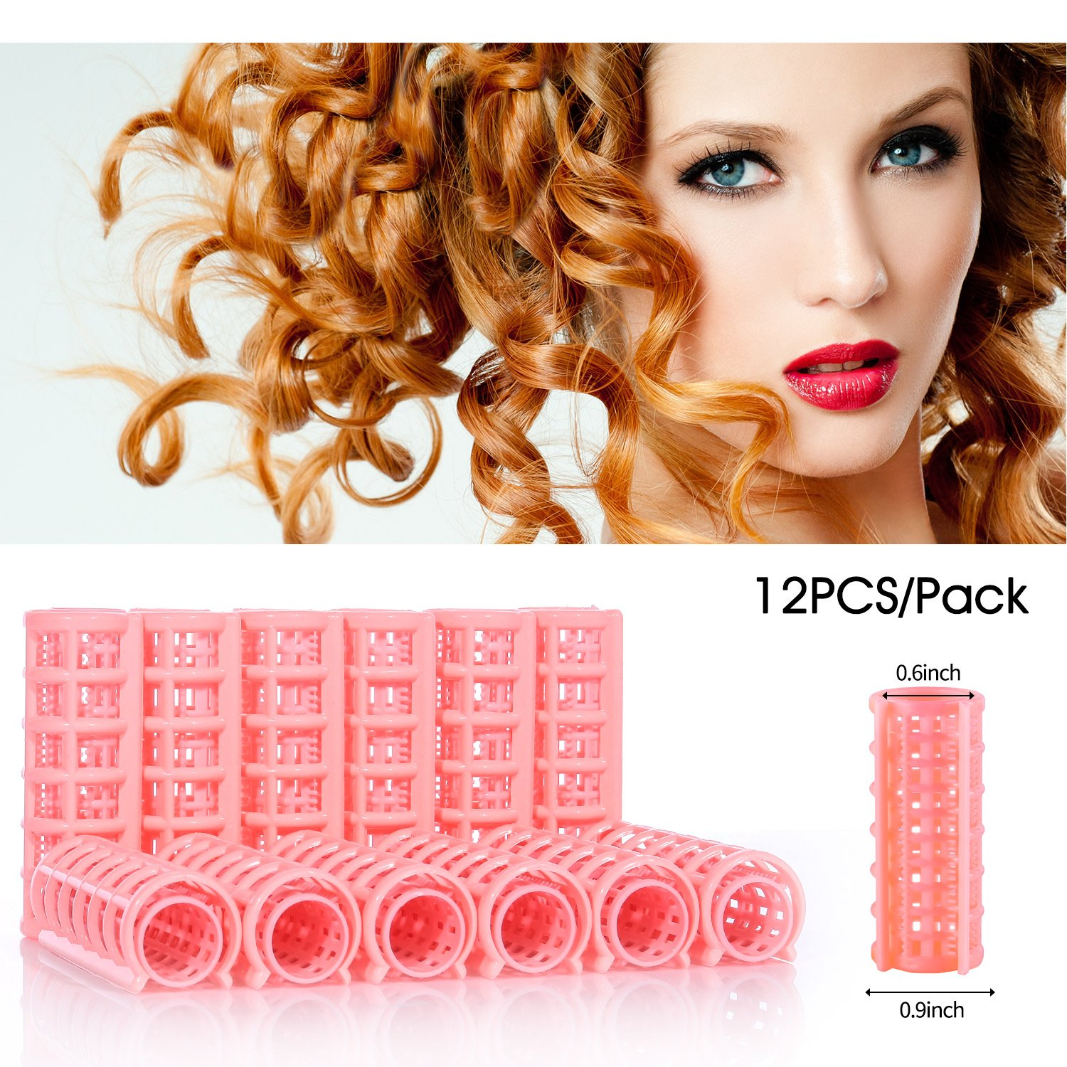 Yousha 12Pcs Self-grip Plastic Hair Rollers Pro Salon Hair Styling Curlers Clips for Women Ladies (20 x70 mm, Pink)