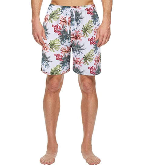 5556b8635e Hopgo Men's Floral Printed Swim Trunk Quick Dry Beach Board Shorts with Mesh  Lining White Flower