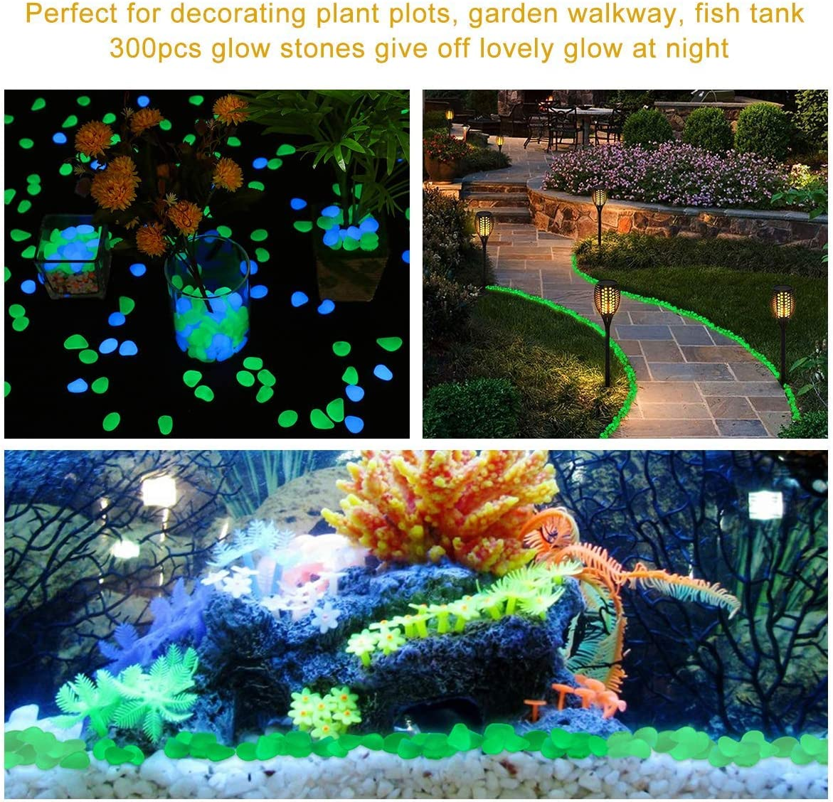 Blu Acquari ecc. Marciapiede Giardino Prato Tvird Decorative Stones Pebbles 300Pcs Outdoor Decorative Stones Pebbles Glow Stones Glow Ciottoli per stagni