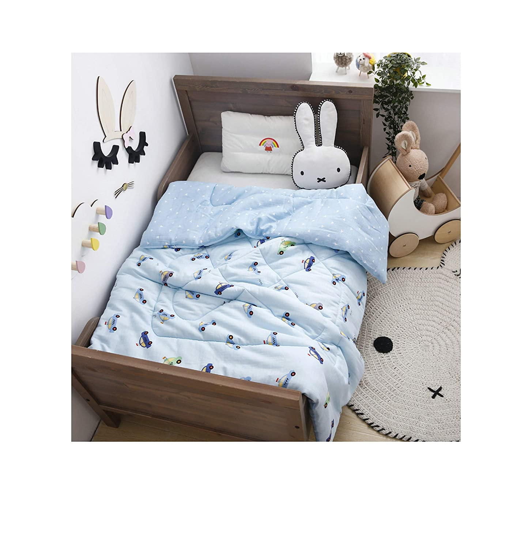 Car, bluee 47 x60  1750g KFZ Breathable Gauze Cotton Kids Comforter  Kids Reversible Bedding Features YMF19 Dinosaur Rabbit Tiger Elephant Car Designs Full Cotton Fill 1PC (Tiger, Multi, 47 x60  1250g)