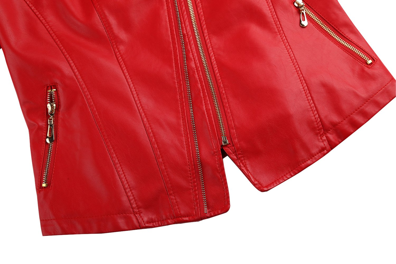 Tanming Women's Slim Zipper Color Faux Leather Jacket Red (Large, Red) by Tanming (Image #6)