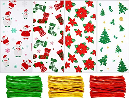 A Voqeen 100pcs Christmas Candy Cellophane Gift Bags Candy Cookie Treat Bags with Christmas Tree Snowflake Patterns Packaging Bag for Christmas Party Supplies with 150 Gold Twist Ties