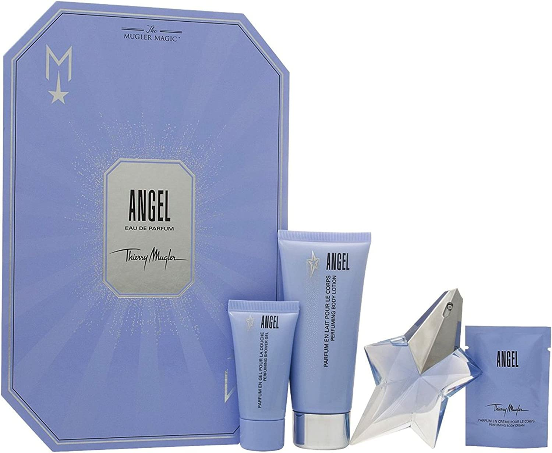 Thierry mugler angel eau de perfume 25ml vapo. recargable + body milk100ml + gel 30ml + body milk cream 10ml