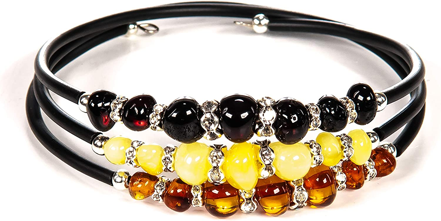 Natural BALTIC AMBER BRACELET Colorful Round Beads Bead Ladies Elastic Jewelry Stretch Handmade 18g 11037