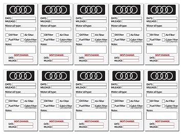 Oil Change Service Reminder Sticker For Any Audi Car Owner Set