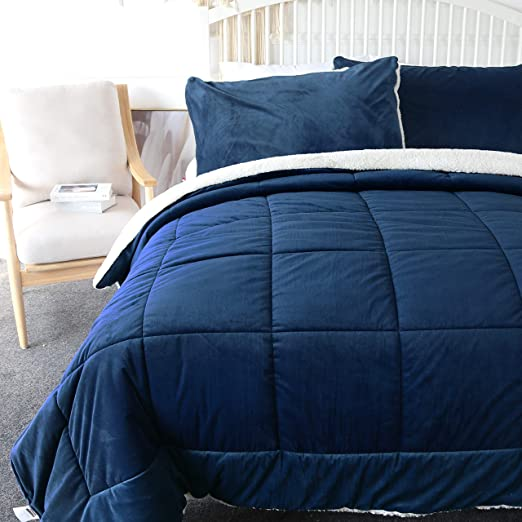 Luxury Navy Blue Lush Velvet Comforter Set AND Decorative Pillow ALL SIZES