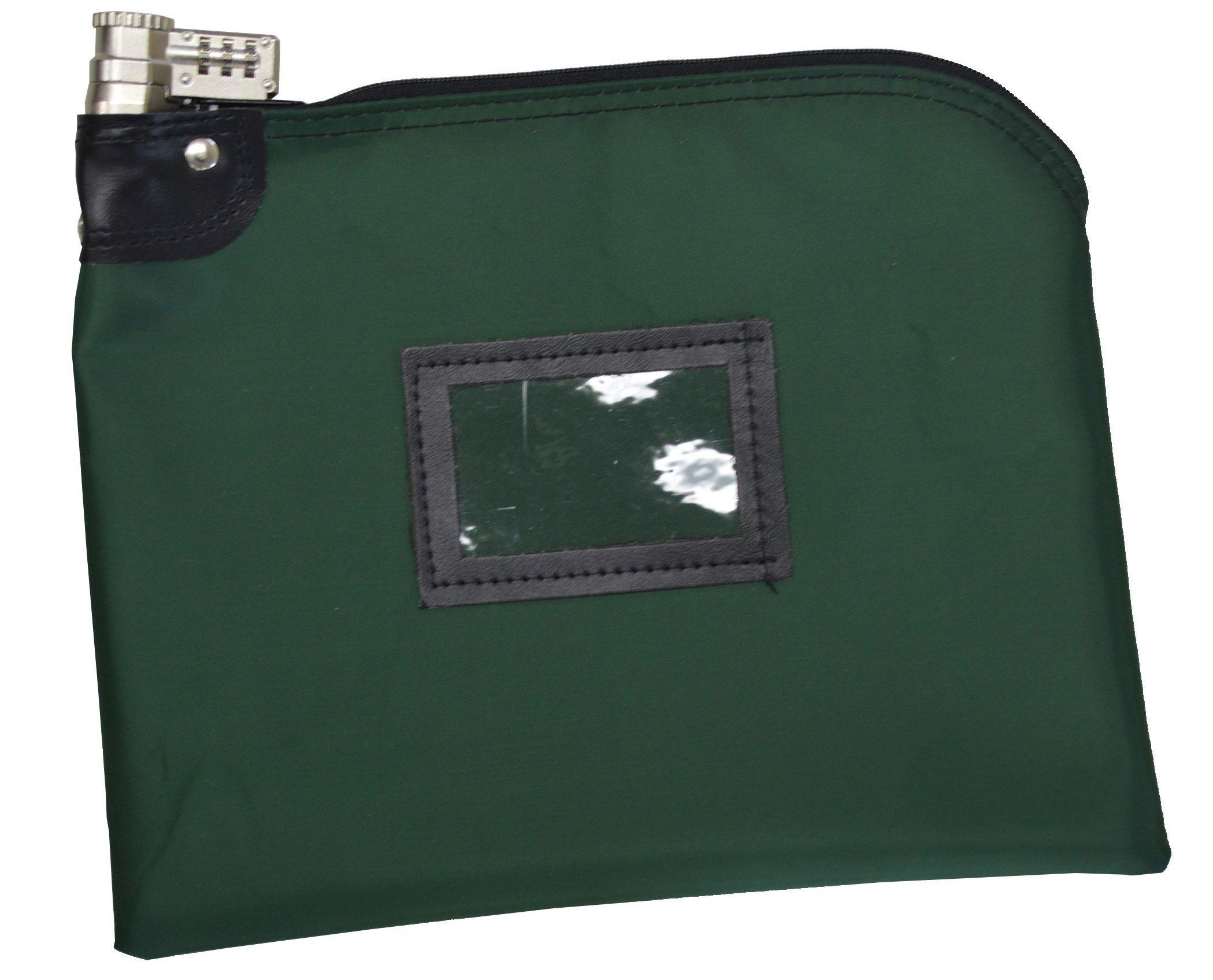 Locking Money Bag Laminated Nylon Combination Keyed Security System Forest Green