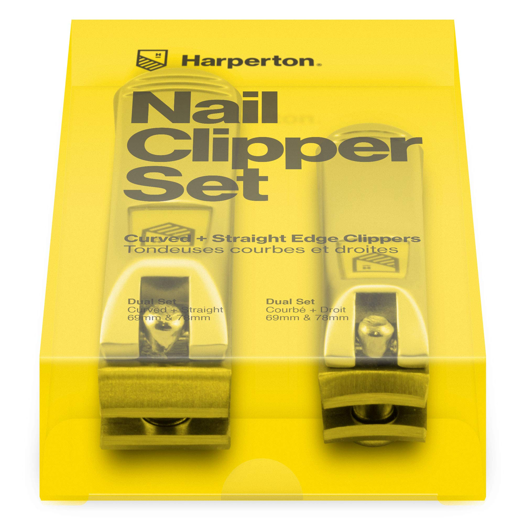 Harperton Nail Clipper Set - Fingernail and Toenail Clipper (Curved + Straight Jaw) by Harperton
