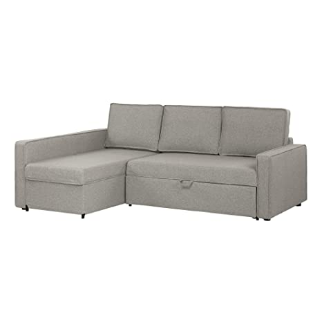 South Shore 100308 Live-It Cozy Sectional Sofa-Bed with Storage, Gray Fog
