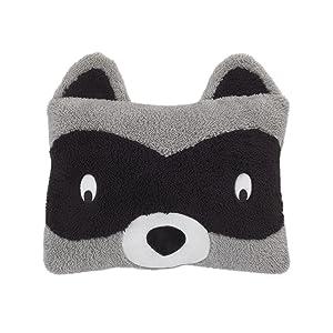 Little Love by NoJo Raccoon Shaped Plush Sherpa Decorative Pillow, Grey/Black/White