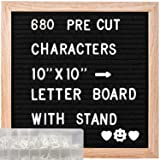 ABELL Felt Letter Board Include 680 Pre-Cut Letters, 10x10 Inches Message Changeable Board for Farmhouse Office Rustic Home Decor (Color: Black, Tamaño: 10