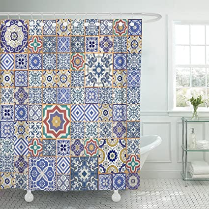 Emvency Shower Curtain Blue Ceramic Mega Gorgeous Patchwork Pattern From Colorful Moroccan Tiles Ornaments Fills Mosaic
