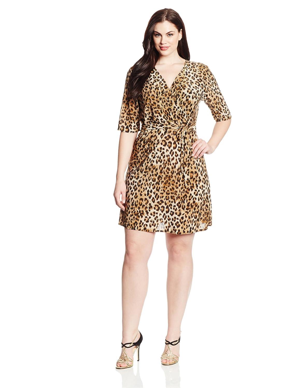 Star Vixen Women's Plus-Size Elbow Sleeve Wrap Dress with Necklace Star Vixen Child Code 3460-IT-X