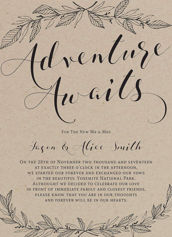 Marriage announcement card Kraft Paper Rustic Wedding Announcement Cards Elopement Announcement Card