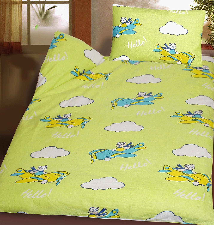 Baby Kinder Biber Baumwoll Bettwä sche 100 x 135 + 40x60 cm, gelbgrü n, Flugzeug, 100% Baumwolle, fü r Kinderbett (42013) KH-Haushaltshandel