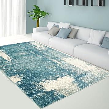 Teppich Flachflor in Pastell-Blau, Modernes Design mit Vintage-Optik ...