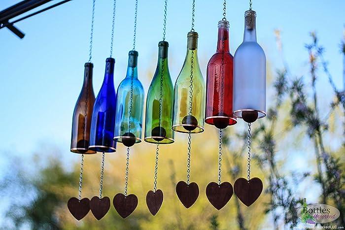 Wine Bottle Wind Chime   Garden Decor   Gift For Mom   Outdoor Decor   Patio
