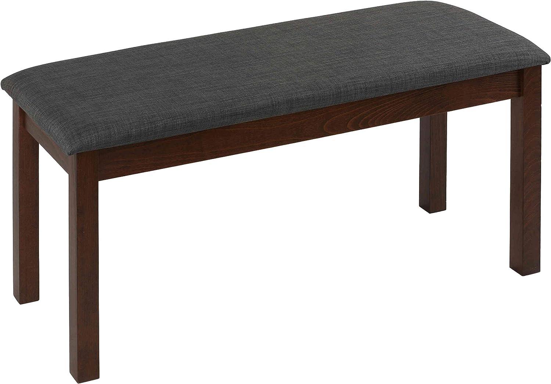 Cortesi Home Rosco Dining Bench Grey Fabric and Walnut Finish Wood