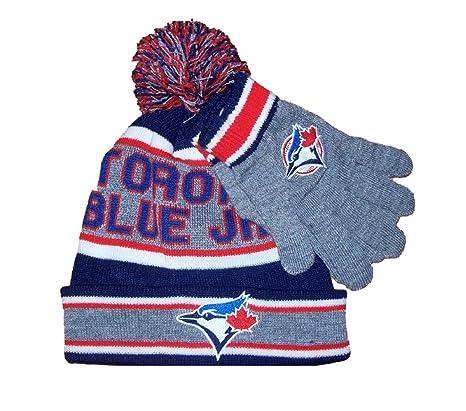 98d22f8489d MLB Boy s Toronto Blue Jays Pom Pom Toque   Gloves Giftset Size 4-6X   Amazon.ca  Luggage   Bags