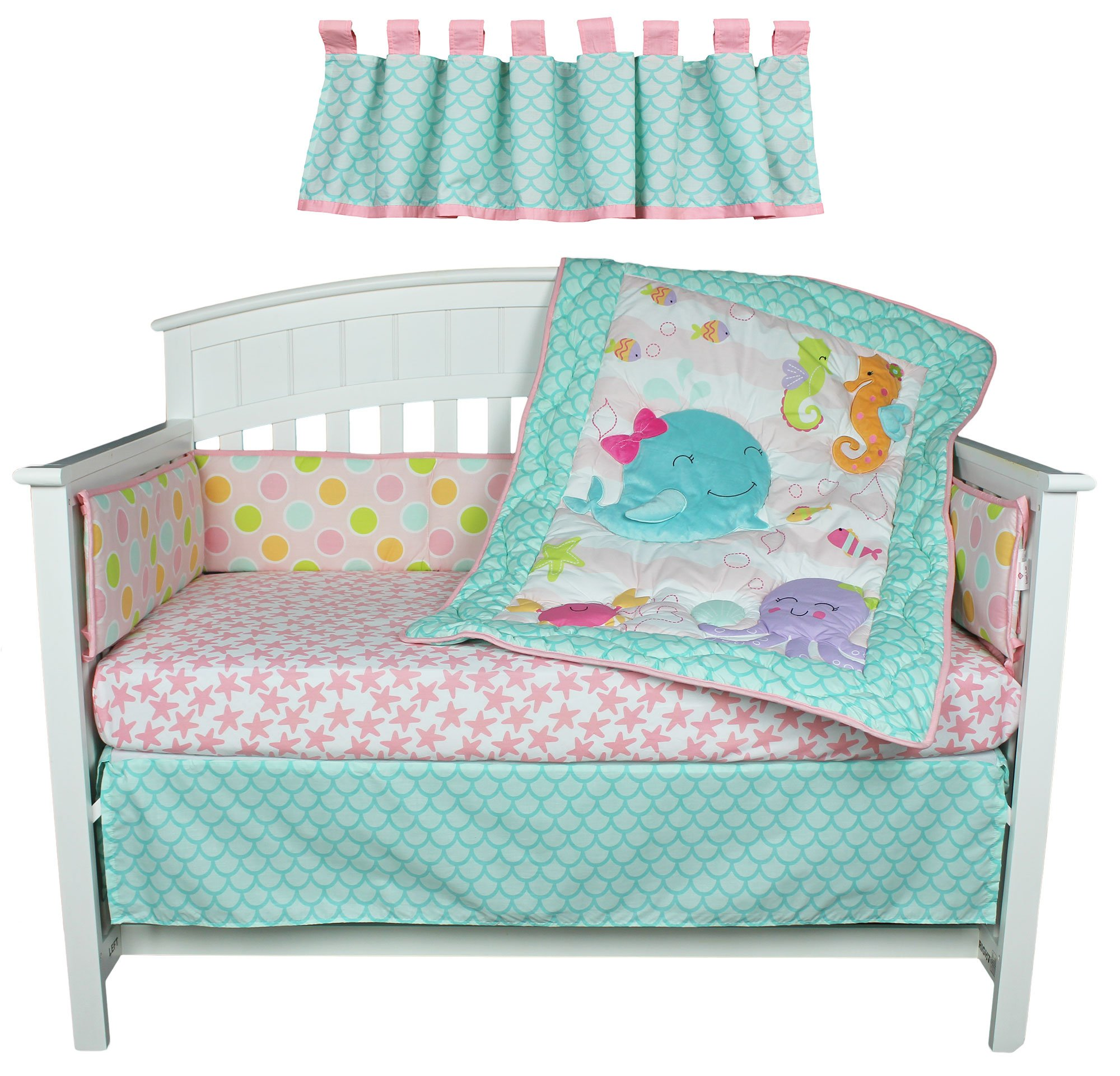 Sea Sweeties Pink and Blue Ocean 5 Piece Baby Girl Crib Bedding with Bumper by Belle by Belle (Image #4)