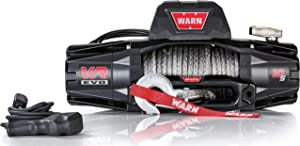 """WARN 103253 VR EVO 10-S Electric 12V DC Winch with Synthetic Rope: 3/8"""" Diameter x 90' Length, 5 Ton (10,000 lb) Lifting/Pulling Capacity"""