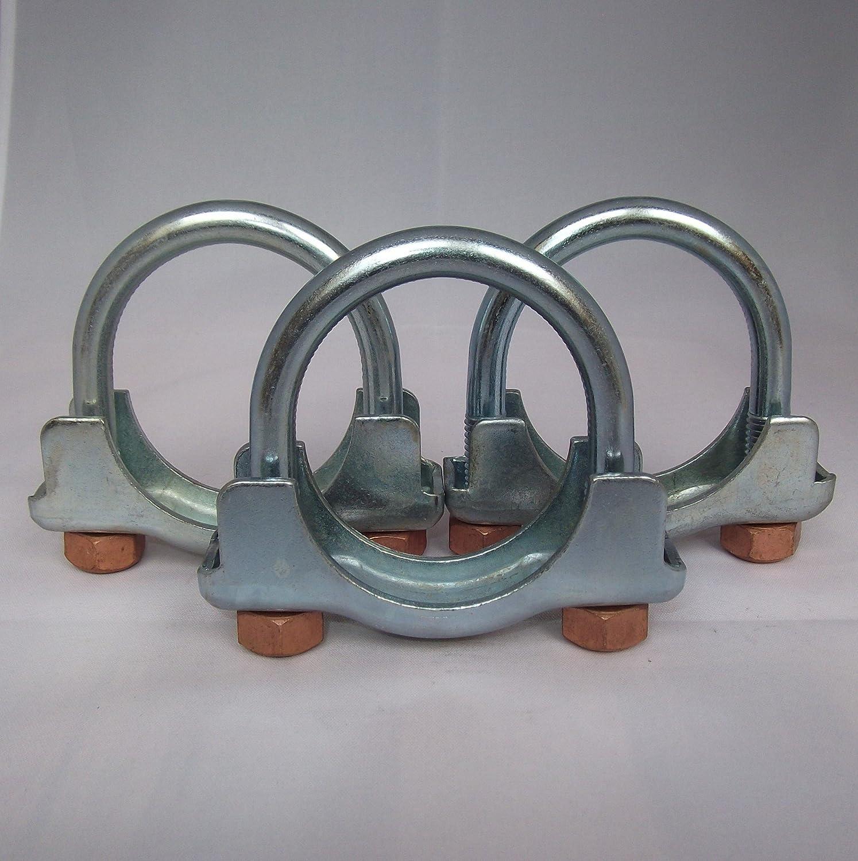 3 x Auspuffschelle B/ügelschelle Montageschelle Rohrverbinder mit Kupfermutter selbstsichernd M10 /Ø 51 mm