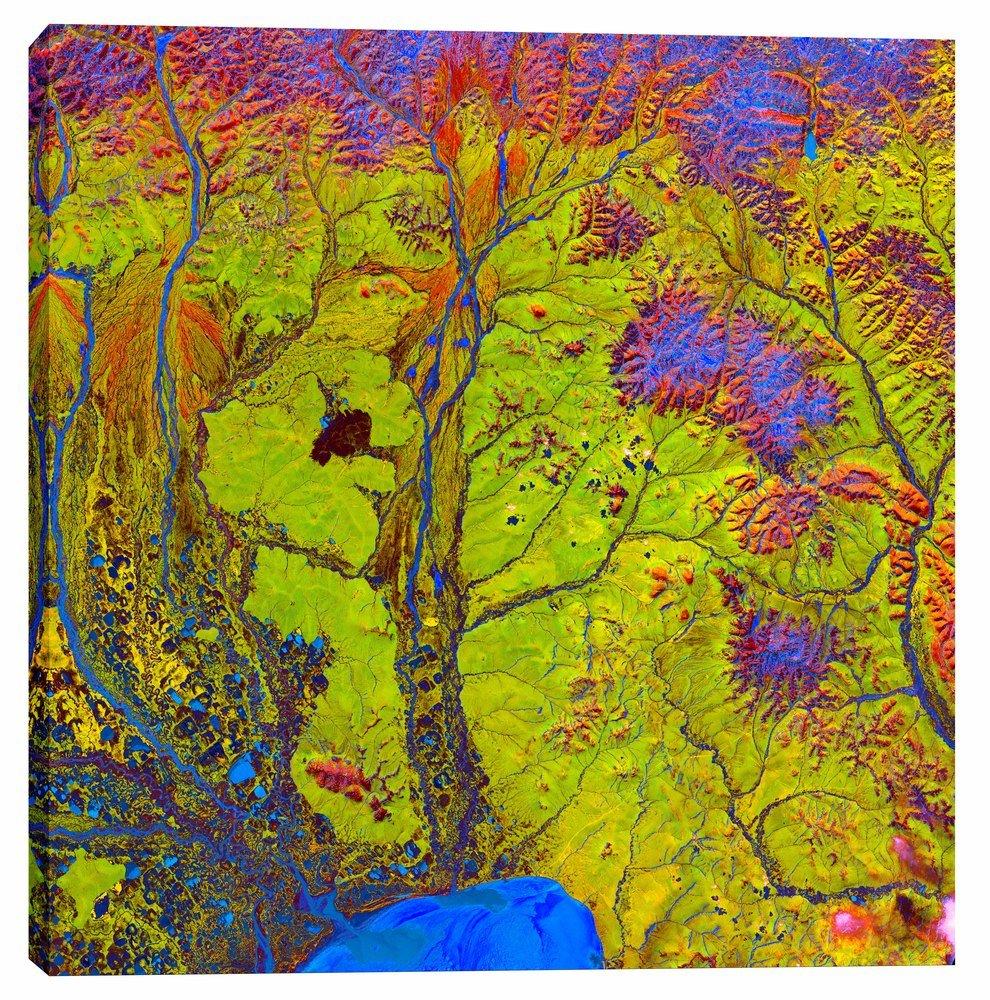 Epic Graffiti Earth As Art: Siberian Ribbons Giclee Canvas Wall, 37'' x 37''