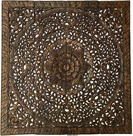 Amazon Com Large Tropical Wood Carved Wall Panels Floral Wood Wall