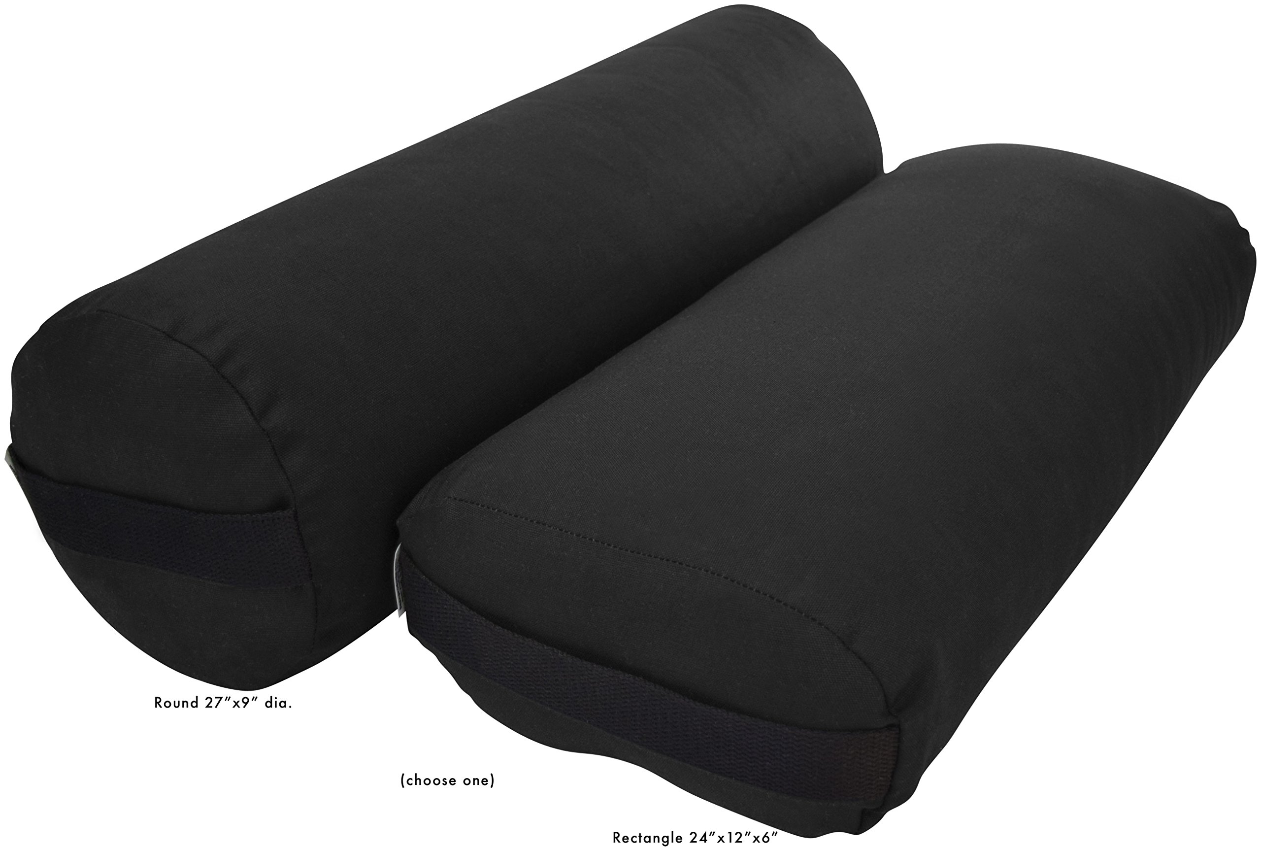 Bean Products Yoga Bolster - Cotton Round - Black