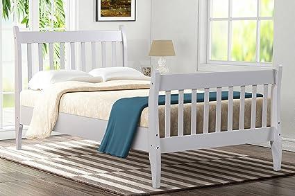 Amazon.com: Bed Frame Twin Wood Oak,JULYFOX Modern White Bed Frame ...