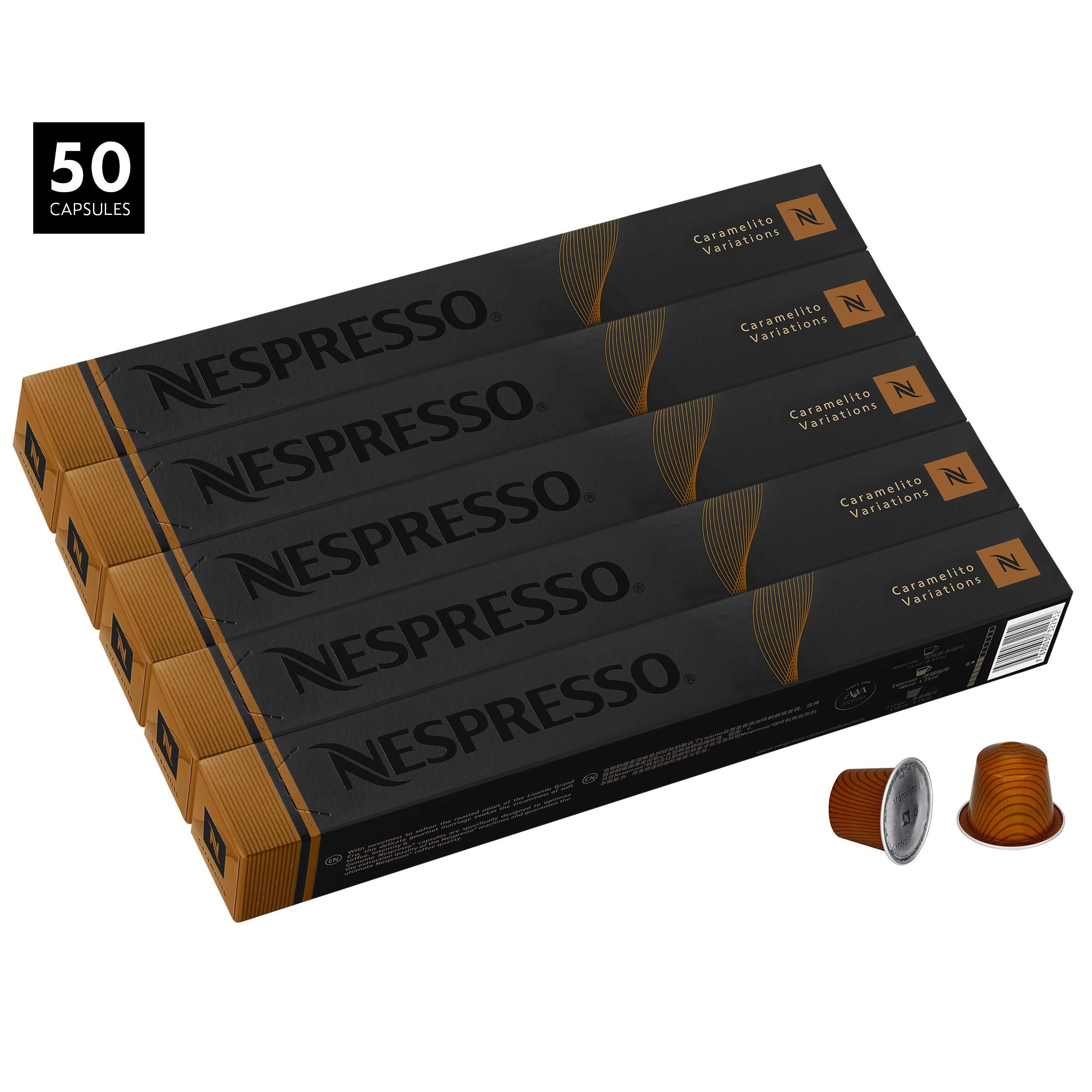 Nespresso Caramelito Capsules for OriginalLine by Nespresso, 50 Count Espresso Pods, Medium Roast Intensity 6 Blend | South & Central American Arabica Coffee Flavors