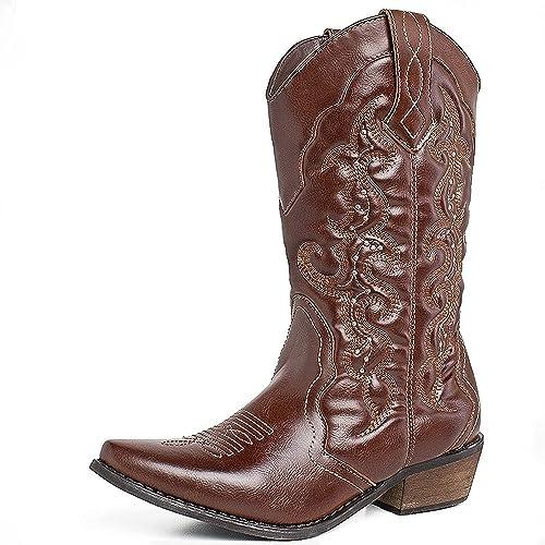 eb01c427f69 SheSole Womens Winter Western Cowgirl Cowboy Boots