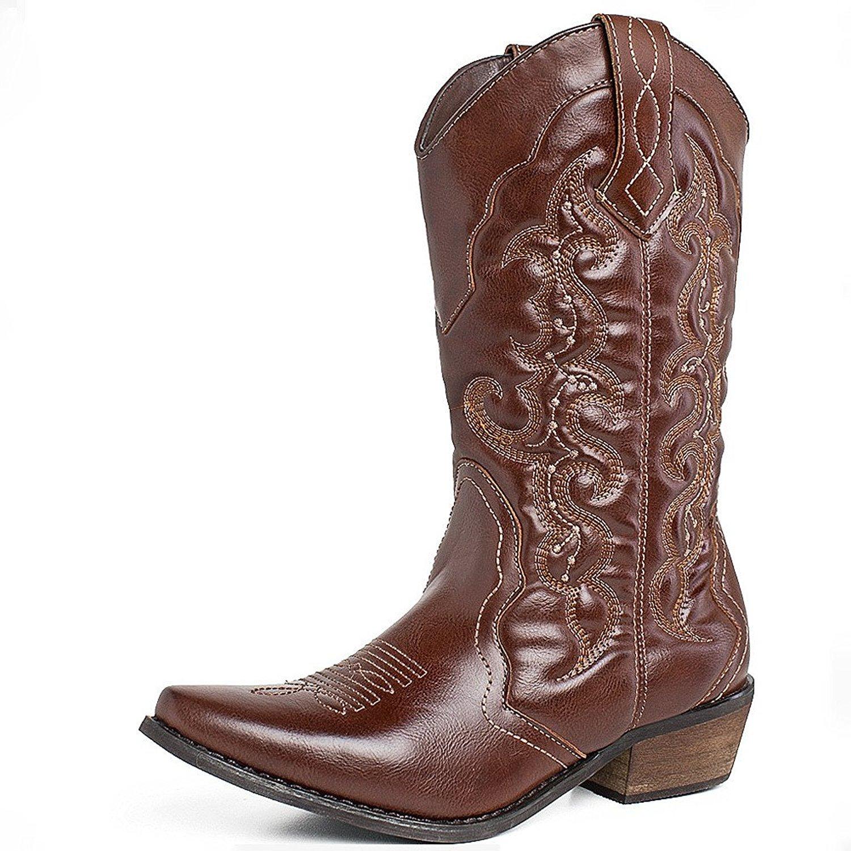 SheSole Women's Western Cowboy Cowgirl Boot, Brown, 8 B(M) US