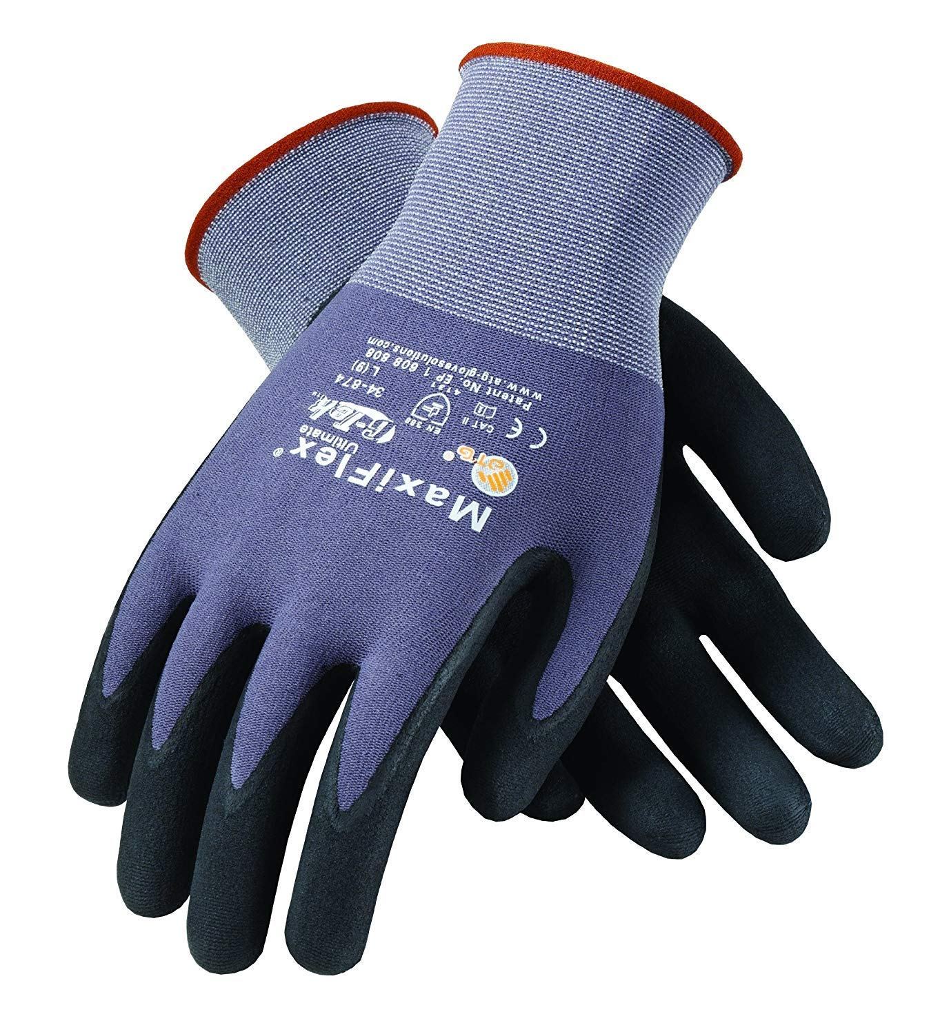 MaxiFlex 34-874 Gloves Nitrile Micro-Foam Grip Palm & Fingers(Size-L/24 Pairs) by ATG (Image #1)