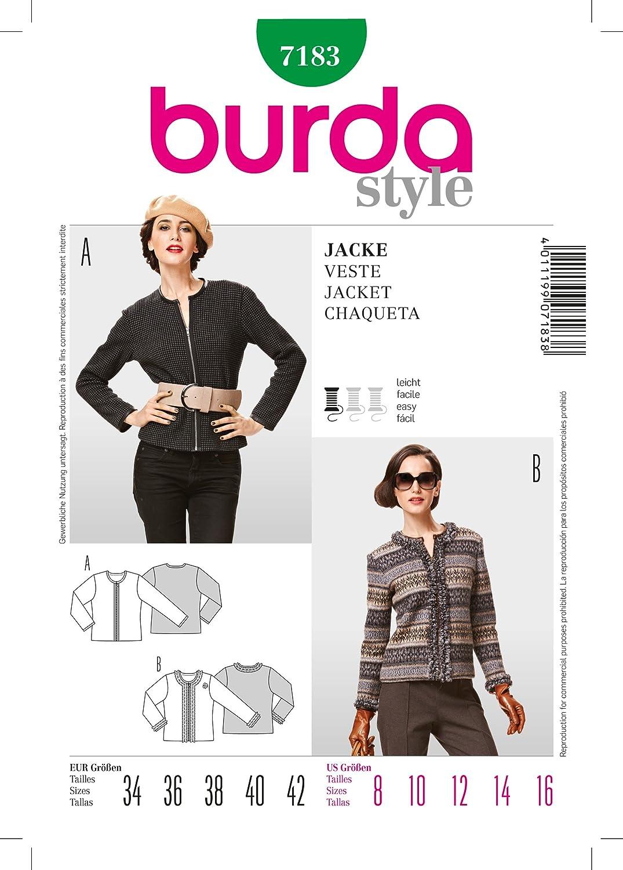 Burda B7183 - Cartamodello per realizzare giacca da donna, taglie varie, 19 x 13 cm