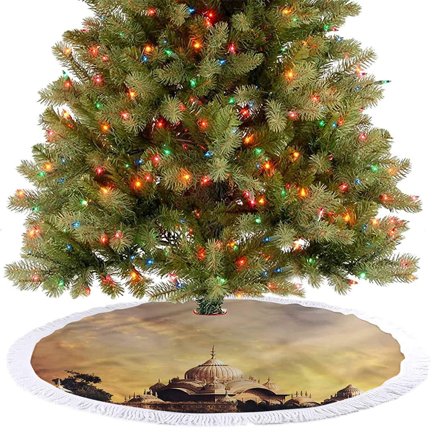 ThinkingPower Modern Tree Skirt Imperial Palace Old Monument Xmas Party Holiday Decorations for Merry Christmas Holiday Party Decorations Diameter - 48 Inch