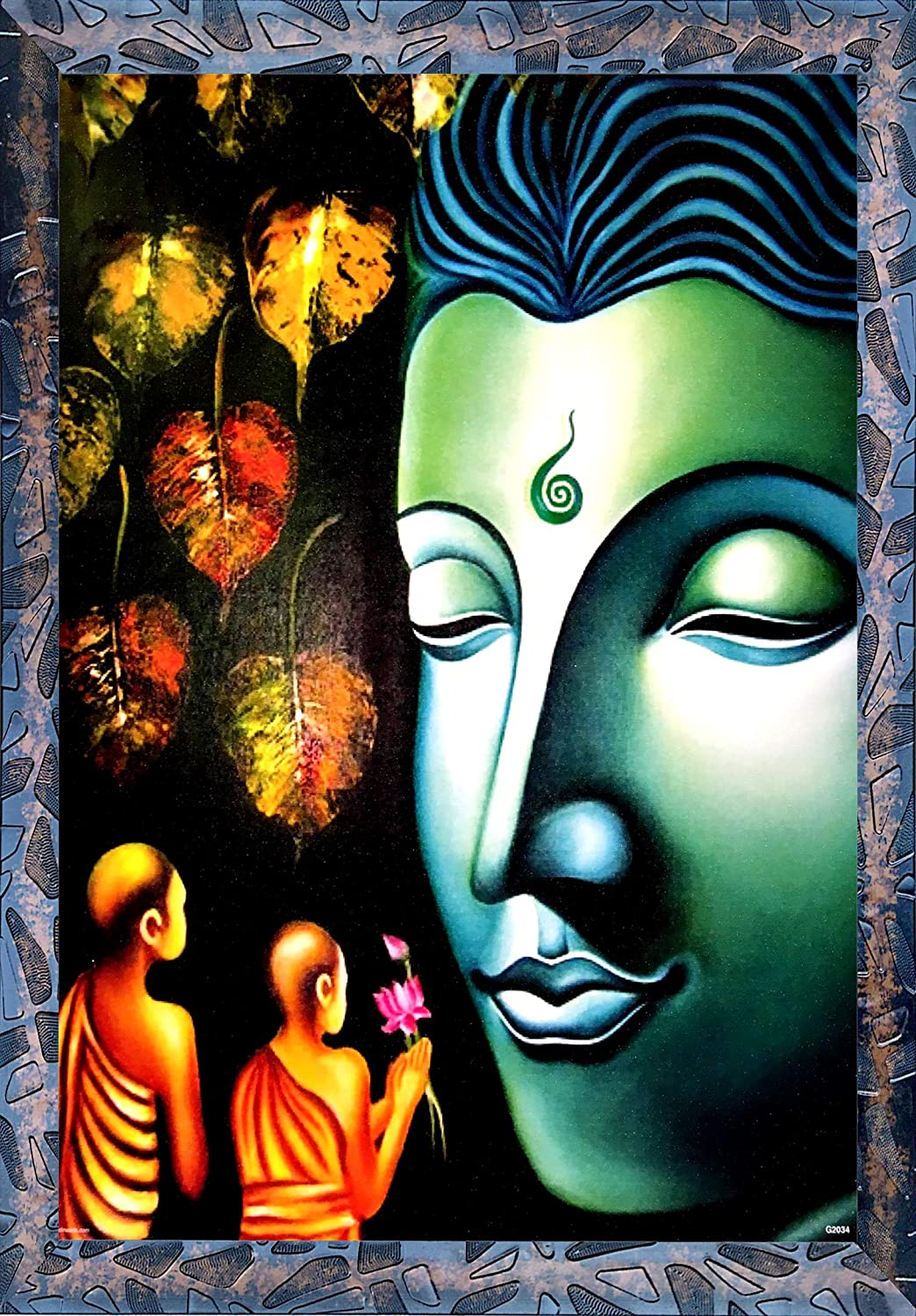 Kyara Arts Beautiful Wall Painting Buddha Abstract Antique Modern Art Wall Painting For Living Room And Bedroom With Frame Canvas Paintings Special Effects Sparkel Laminated Framed Wall