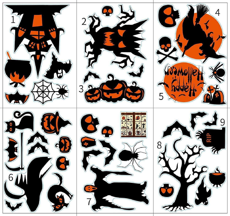 Voqeen Pegatinas para Ventana de Halloween Castillo Bruja Espantap/ájaros Esqueleto Clips Bat Ara/ña Calcoman/ías Decoraciones para Fiestas de Halloween Reutilizable para decoraci/ón A